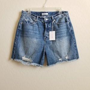 NWT Good American High Rise Distressed Shorts 8